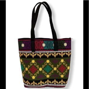 Colorful Patterned Canvas Shoulder Tote Bag